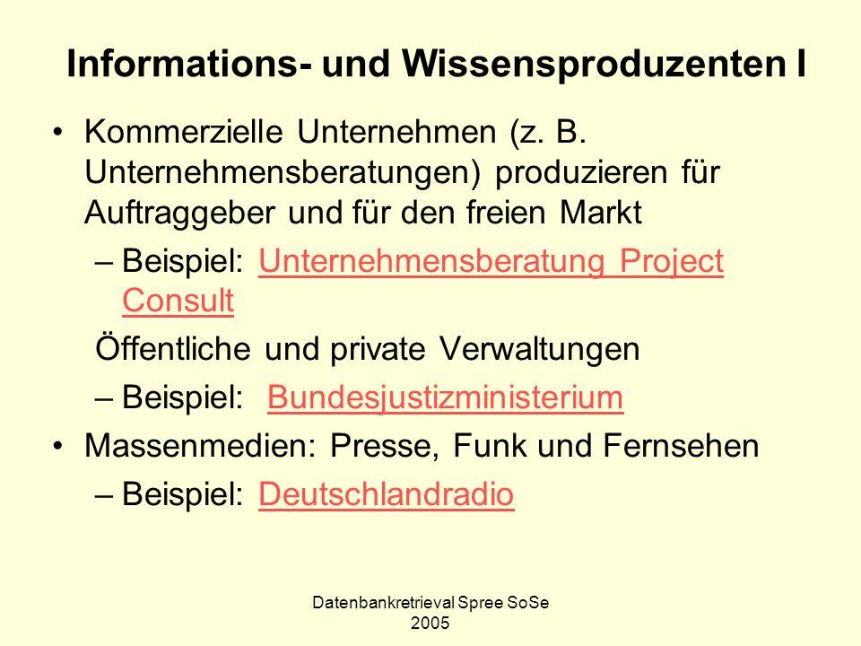 Datenbankretrieval Spree SoSe 2005 Informations- und Wissensproduzenten I Kommerzielle Unternehmen (z. B. Unternehmensberatungen) produzieren für Auft