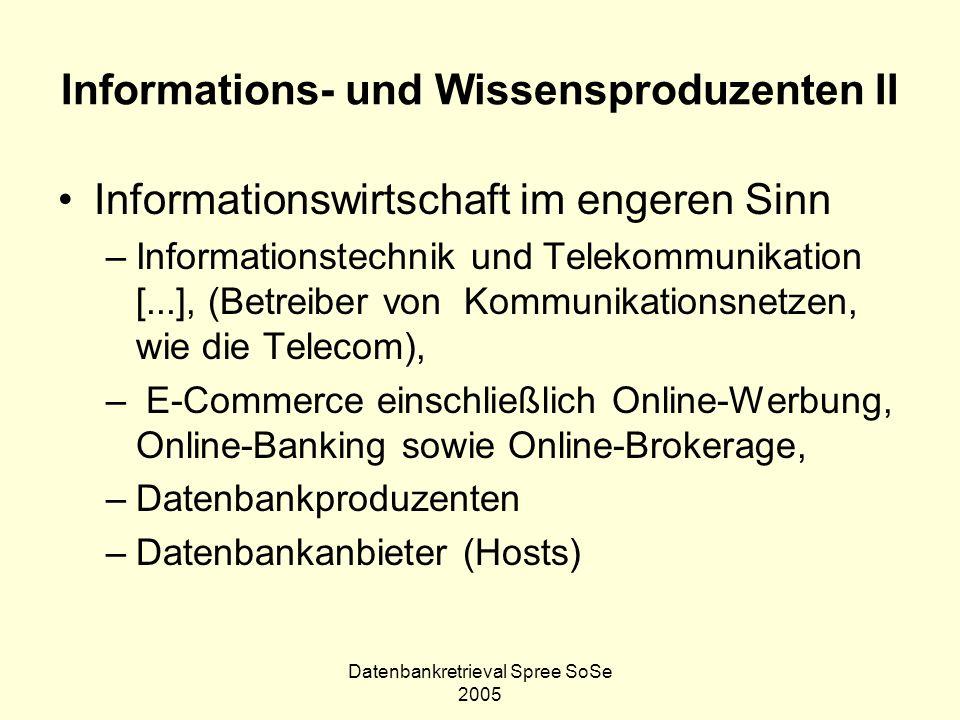Datenbankretrieval Spree SoSe 2005 Informations- und Wissensproduzenten II Informationswirtschaft im engeren Sinn –Informationstechnik und Telekommuni