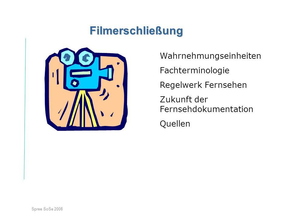 Spree SoSe 2008 Filmerschließung Wahrnehmungseinheiten Fachterminologie Regelwerk Fernsehen Zukunft der Fernsehdokumentation Quellen