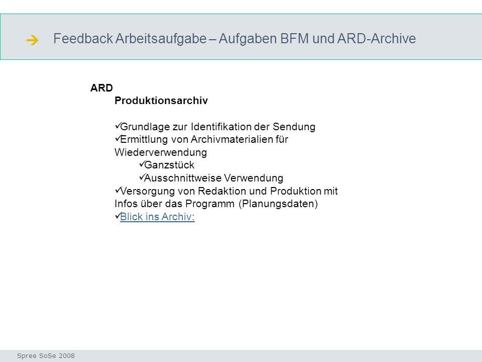 Feedback Arbeitsaufgabe – Aufgaben BFM und ARD-Archive Funktion ARD Seminar I-Prax: Inhaltserschließung visueller Medien, 5.10.2004 Spree SoSe 2008 AR