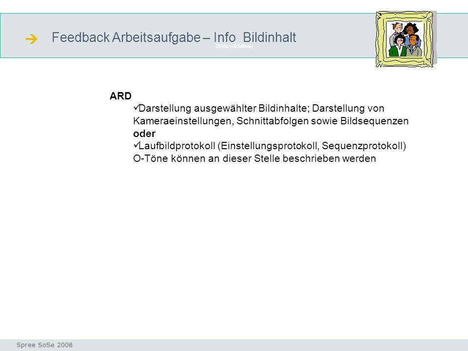 Feedback Arbeitsaufgabe – Info Bildinhalt Bilderschließung Seminar I-Prax: Inhaltserschließung visueller Medien, 5.10.2004 Spree SoSe 2008 ARD Darstel