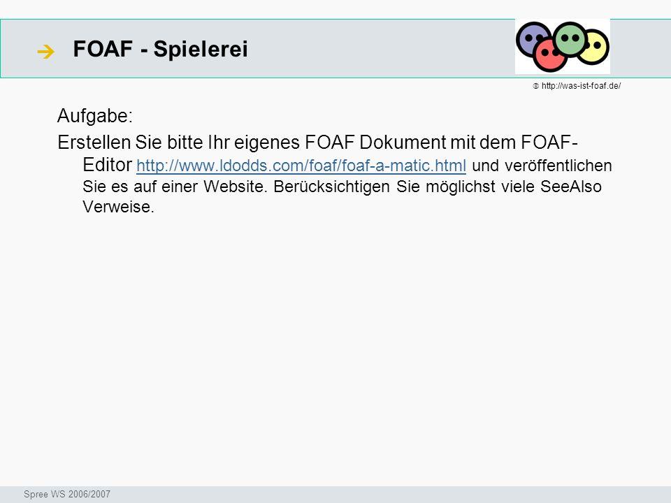 FOAF - Spielerei Seminar I-Prax: Inhaltserschließung visueller Medien, 5.10.2004 Spree WS 2006/2007 Aufgabe: Erstellen Sie bitte Ihr eigenes FOAF Doku