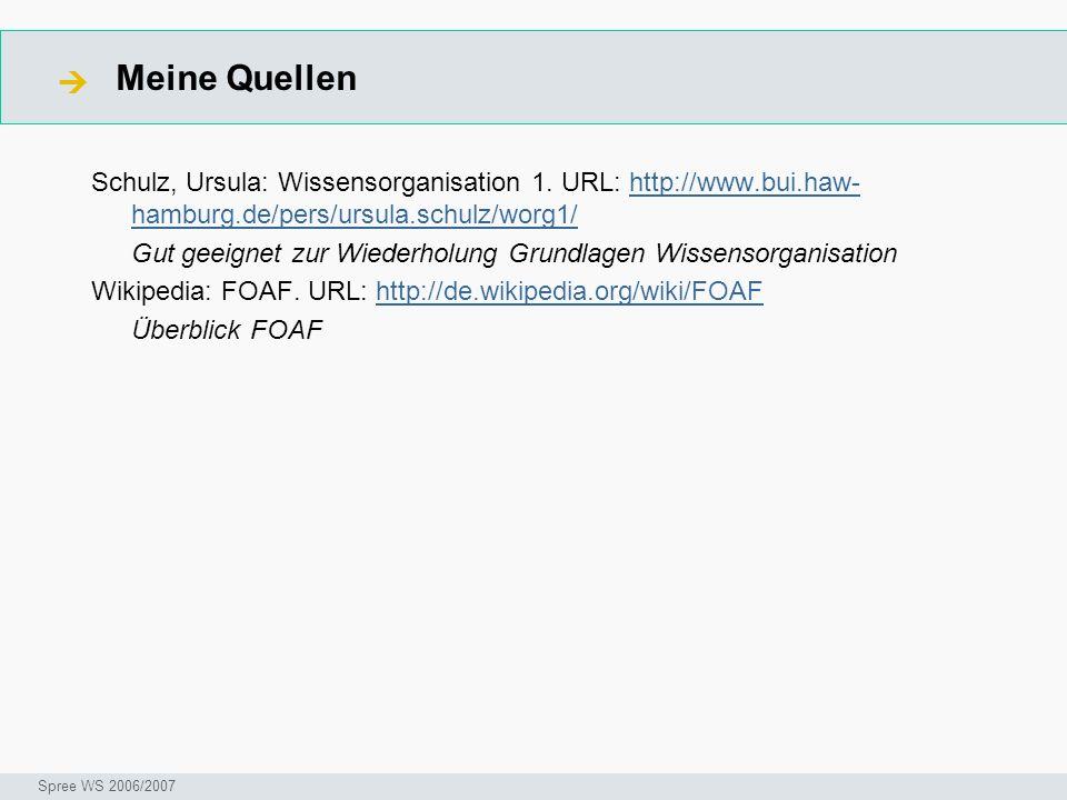 Meine Quellen Seminar I-Prax: Inhaltserschließung visueller Medien, 5.10.2004 Spree WS 2006/2007 Schulz, Ursula: Wissensorganisation 1. URL: http://ww