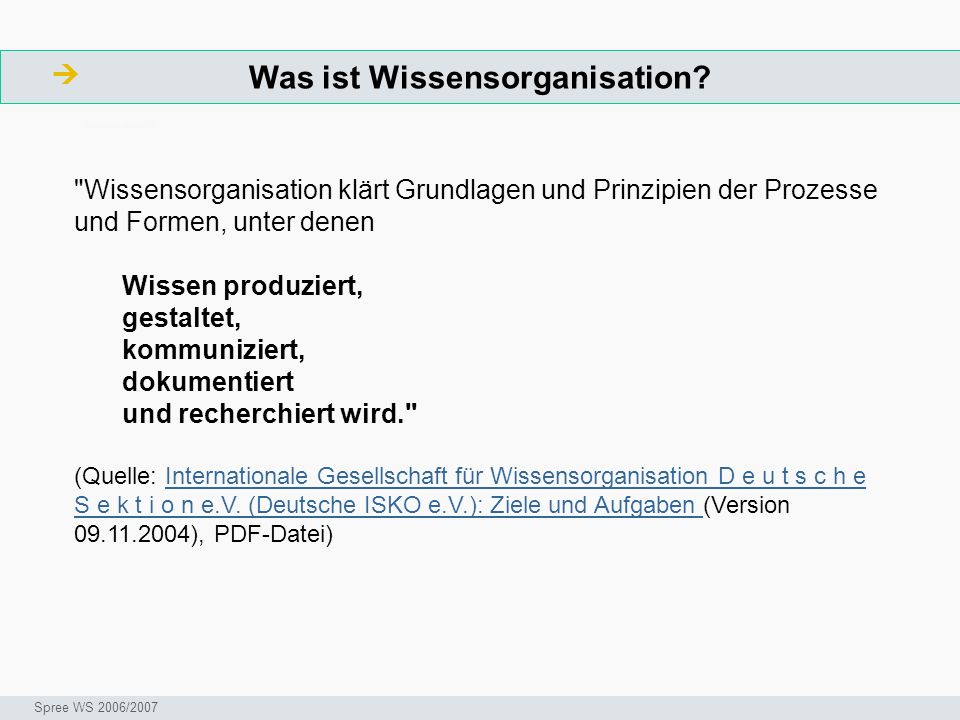 Was ist Wissensorganisation? ArbeitsschritteW Seminar I-Prax: Inhaltserschließung visueller Medien, 5.10.2004 Spree WS 2006/2007
