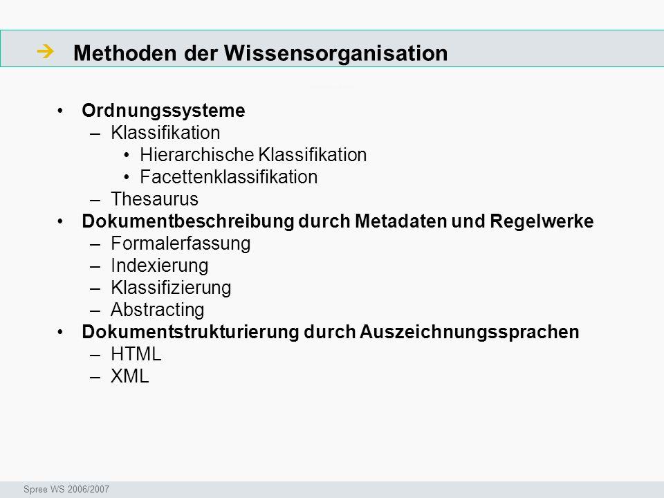 Methoden der Wissensorganisation Arbeitsschritte Ordnungssysteme –Klassifikation Hierarchische Klassifikation Facettenklassifikation –Thesaurus Dokume