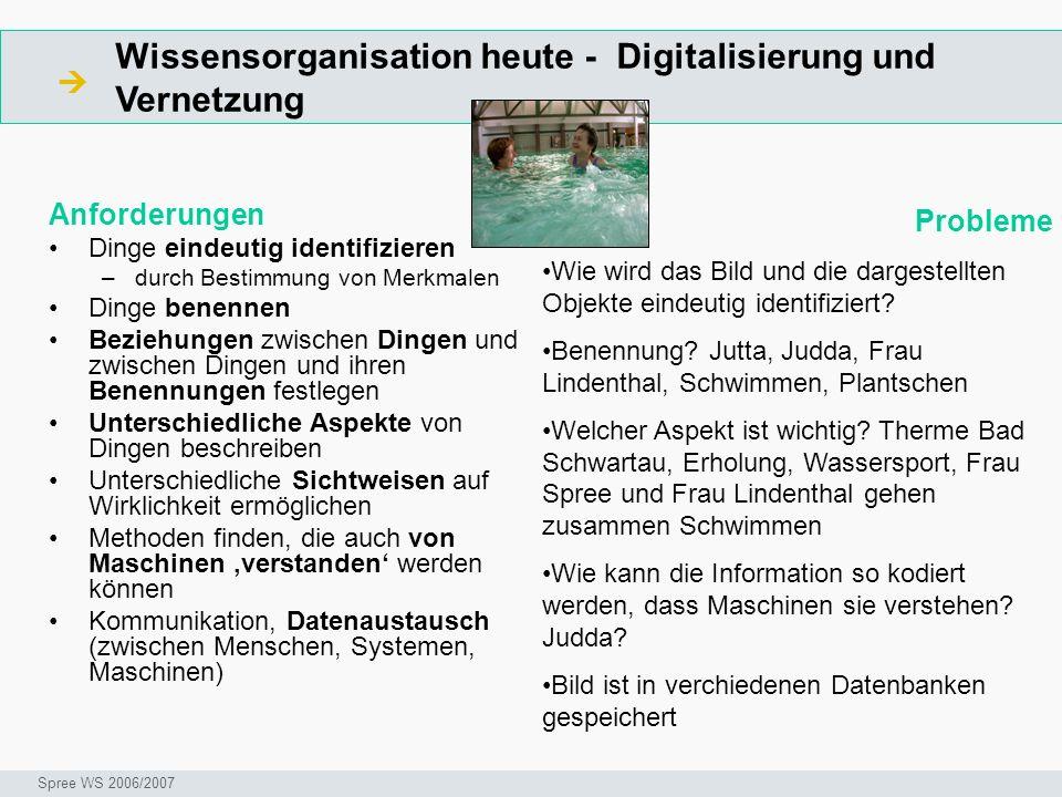 Wissensorganisation heute - Digitalisierung und Vernetzung Anforderungen Dinge eindeutig identifizieren –durch Bestimmung von Merkmalen Dinge benennen