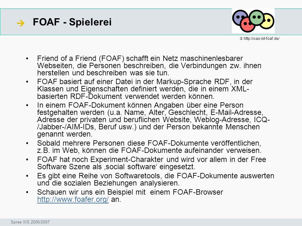 FOAF - Spielerei Seminar I-Prax: Inhaltserschließung visueller Medien, 5.10.2004 Spree WS 2006/2007 Friend of a Friend (FOAF) schafft ein Netz maschin