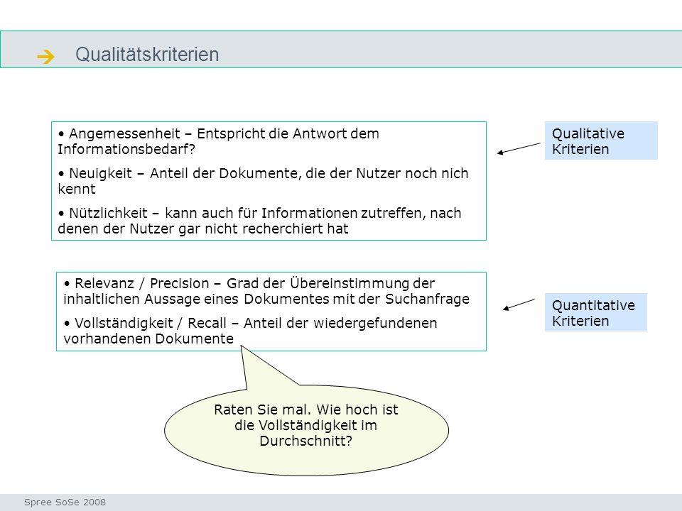 Qualitätskriterien Precision & recall Seminar I-Prax: Inhaltserschließung visueller Medien, 5.10.2004 Spree SoSe 2008 Angemessenheit – Entspricht die