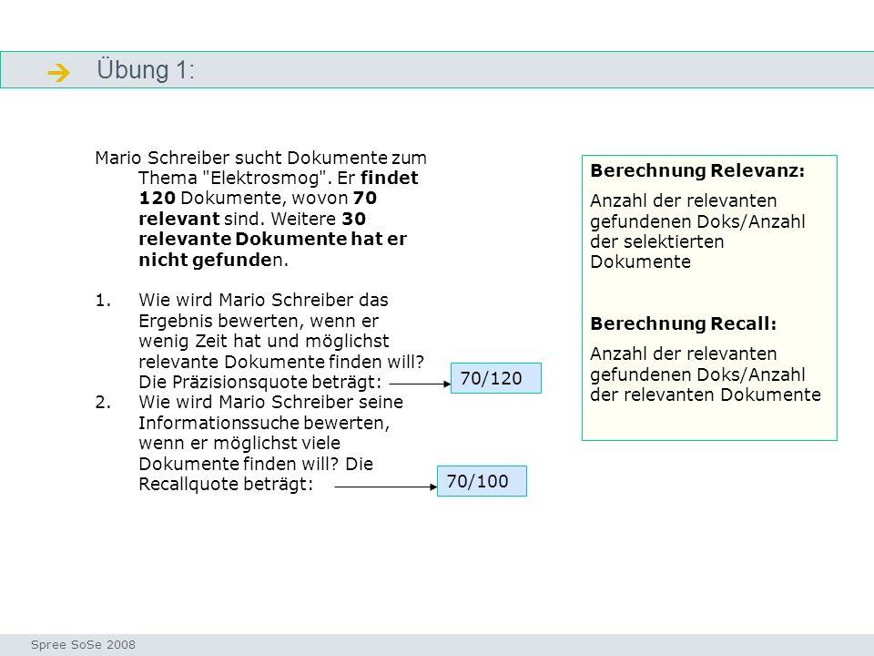 Übung 1: genau Seminar I-Prax: Inhaltserschließung visueller Medien, 5.10.2004 Spree SoSe 2008 Mario Schreiber sucht Dokumente zum Thema