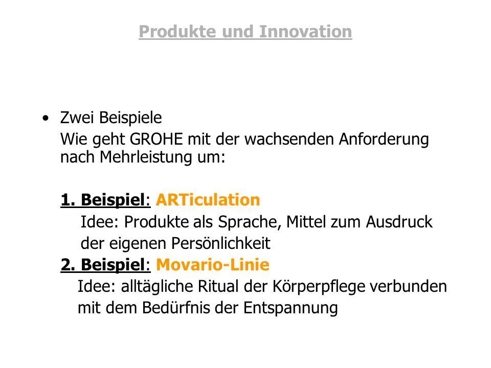 Produkte und Innovation Zwei Beispiele Wie geht GROHE mit der wachsenden Anforderung nach Mehrleistung um: 1. Beispiel: ARTiculation Idee: Produkte al