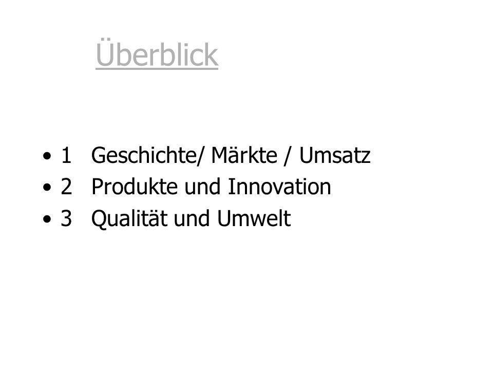 Überblick 1 Geschichte/ Märkte / Umsatz 2 Produkte und Innovation 3Qualität und Umwelt