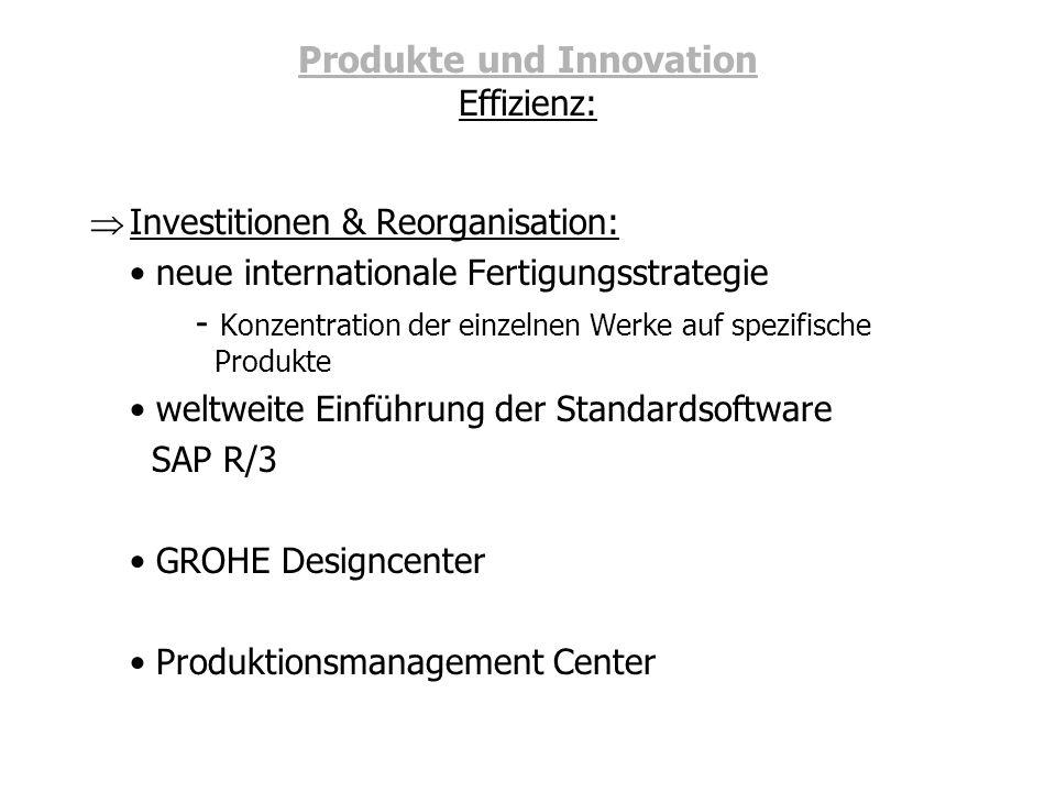 Produkte und Innovation Effizienz: Investitionen & Reorganisation: neue internationale Fertigungsstrategie - Konzentration der einzelnen Werke auf spe