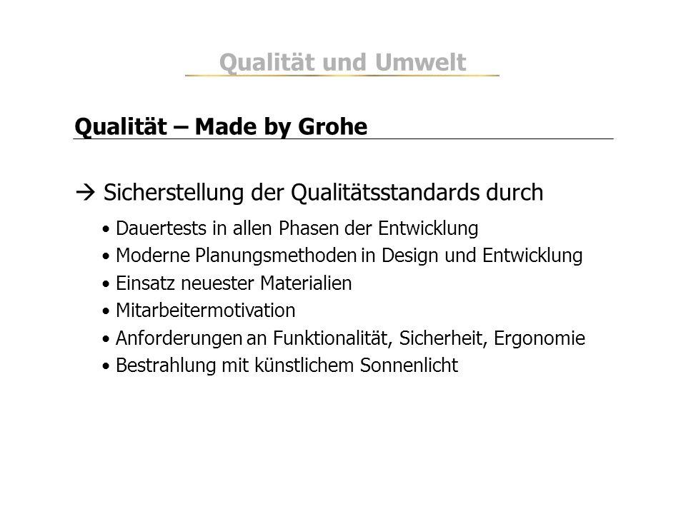 Qualität – Made by Grohe Sicherstellung der Qualitätsstandards durch Dauertests in allen Phasen der Entwicklung Moderne Planungsmethoden in Design und