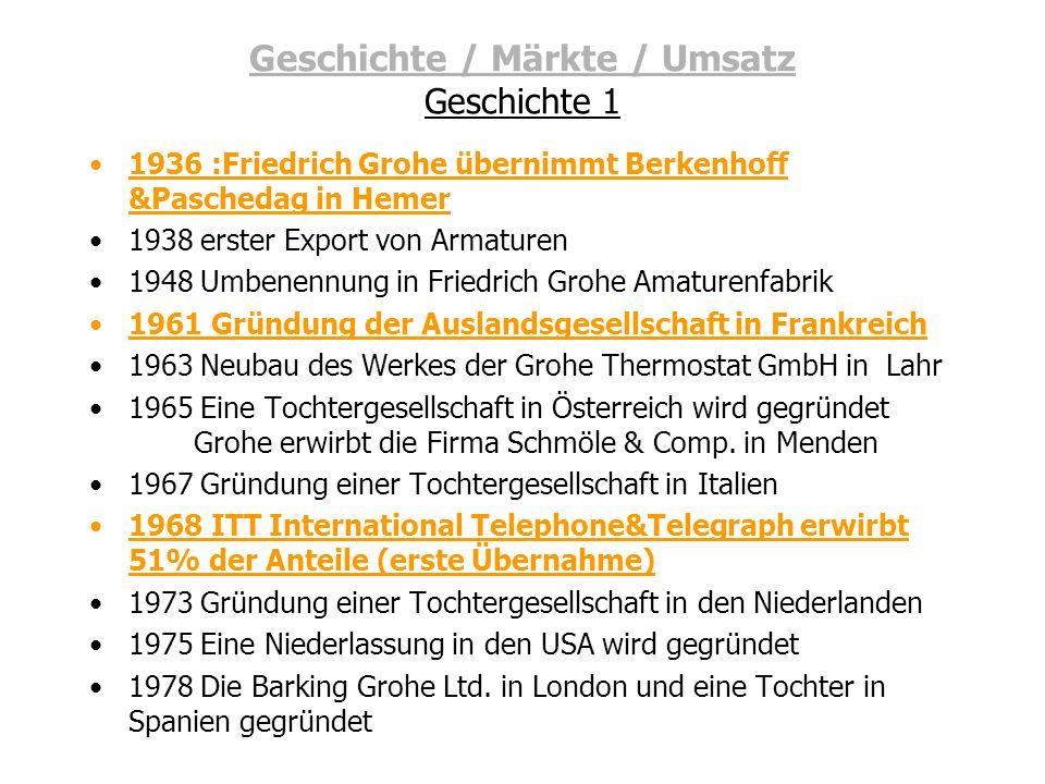 Geschichte / Märkte / Umsatz Geschichte 1 1936 :Friedrich Grohe übernimmt Berkenhoff &Paschedag in Hemer 1938 erster Export von Armaturen 1948 Umbenen
