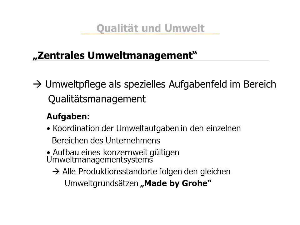 Zentrales Umweltmanagement Umweltpflege als spezielles Aufgabenfeld im Bereich Qualitätsmanagement Aufgaben: Koordination der Umweltaufgaben in den ei