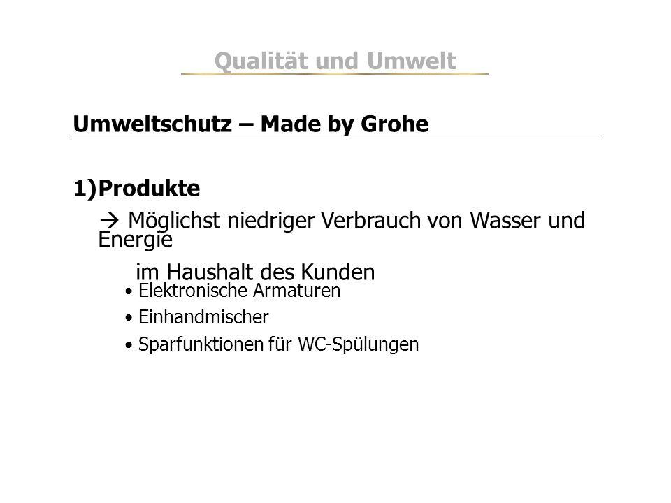 Umweltschutz – Made by Grohe 1)Produkte Möglichst niedriger Verbrauch von Wasser und Energie im Haushalt des Kunden Elektronische Armaturen Einhandmis