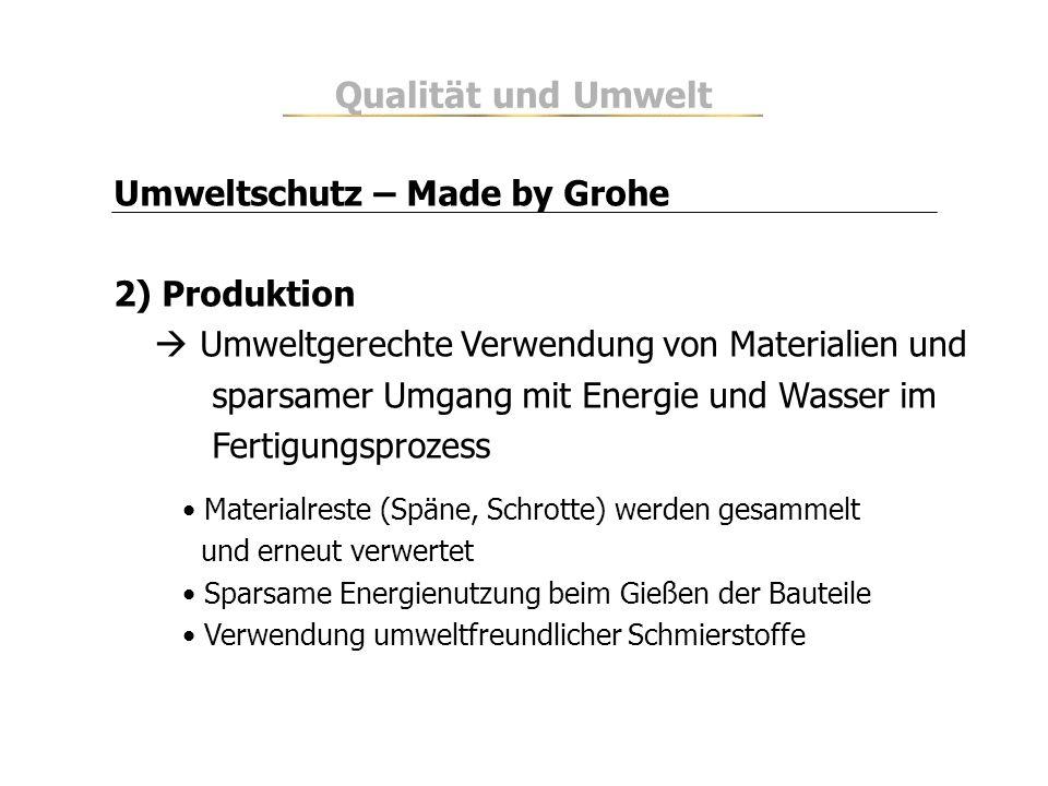 Umweltschutz – Made by Grohe 2) Produktion Umweltgerechte Verwendung von Materialien und sparsamer Umgang mit Energie und Wasser im Fertigungsprozess
