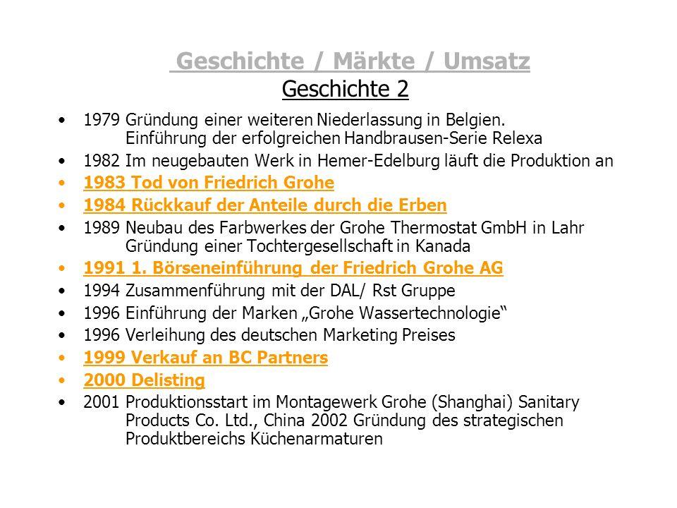 Geschichte / Märkte / Umsatz Geschichte 2 1979 Gründung einer weiteren Niederlassung in Belgien. Einführung der erfolgreichen Handbrausen-Serie Relexa
