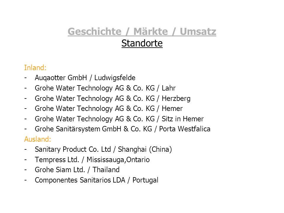 Geschichte / Märkte / Umsatz Standorte Inland: -Auqaotter GmbH / Ludwigsfelde -Grohe Water Technology AG & Co. KG / Lahr -Grohe Water Technology AG &