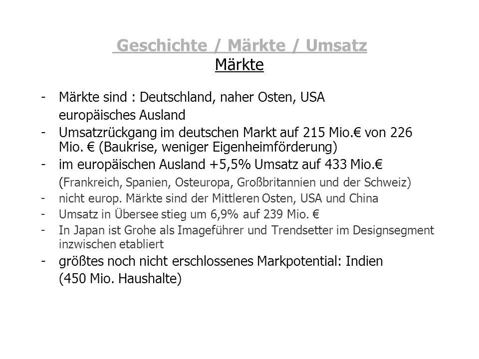 Geschichte / Märkte / Umsatz Märkte -Märkte sind : Deutschland, naher Osten, USA europäisches Ausland -Umsatzrückgang im deutschen Markt auf 215 Mio.