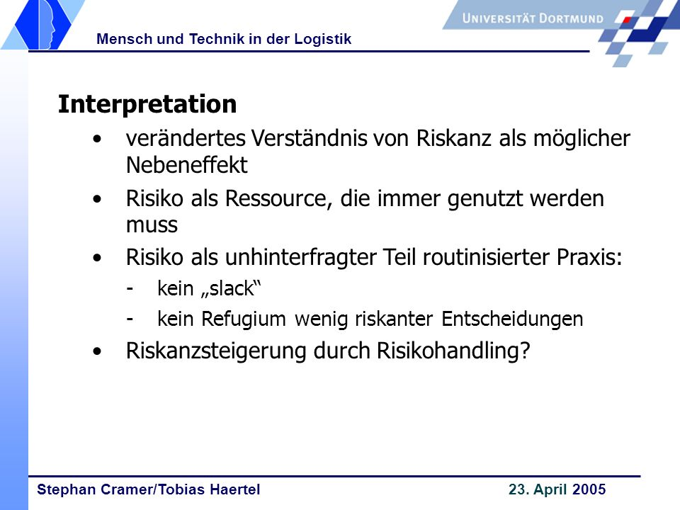Stephan Cramer/Tobias Haertel 23. April 2005 Mensch und Technik in der Logistik Interpretation verändertes Verständnis von Riskanz als möglicher Neben