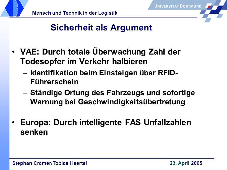 Stephan Cramer/Tobias Haertel 23. April 2005 Mensch und Technik in der Logistik Sicherheit als Argument VAE: Durch totale Überwachung Zahl der Todesop