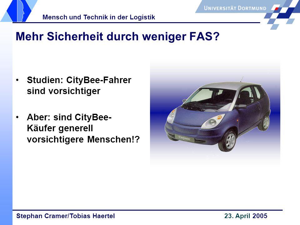 Stephan Cramer/Tobias Haertel 23. April 2005 Mensch und Technik in der Logistik Mehr Sicherheit durch weniger FAS? Studien: CityBee-Fahrer sind vorsic