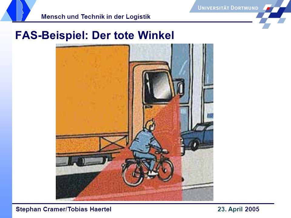 Stephan Cramer/Tobias Haertel 23. April 2005 Mensch und Technik in der Logistik FAS-Beispiel: Der tote Winkel