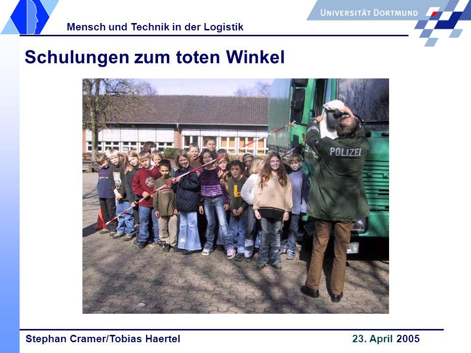 Stephan Cramer/Tobias Haertel 23. April 2005 Mensch und Technik in der Logistik Schulungen zum toten Winkel