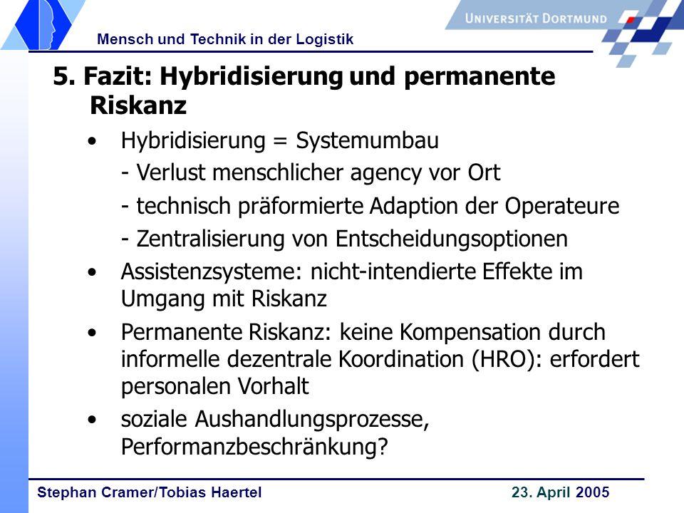 Stephan Cramer/Tobias Haertel 23. April 2005 Mensch und Technik in der Logistik 5. Fazit: Hybridisierung und permanente Riskanz Hybridisierung = Syste