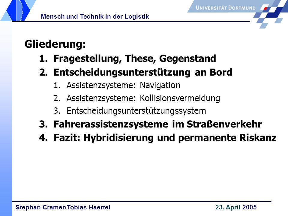Stephan Cramer/Tobias Haertel 23. April 2005 Mensch und Technik in der Logistik Gliederung: 1. Fragestellung, These, Gegenstand 2. 2.Entscheidungsunte