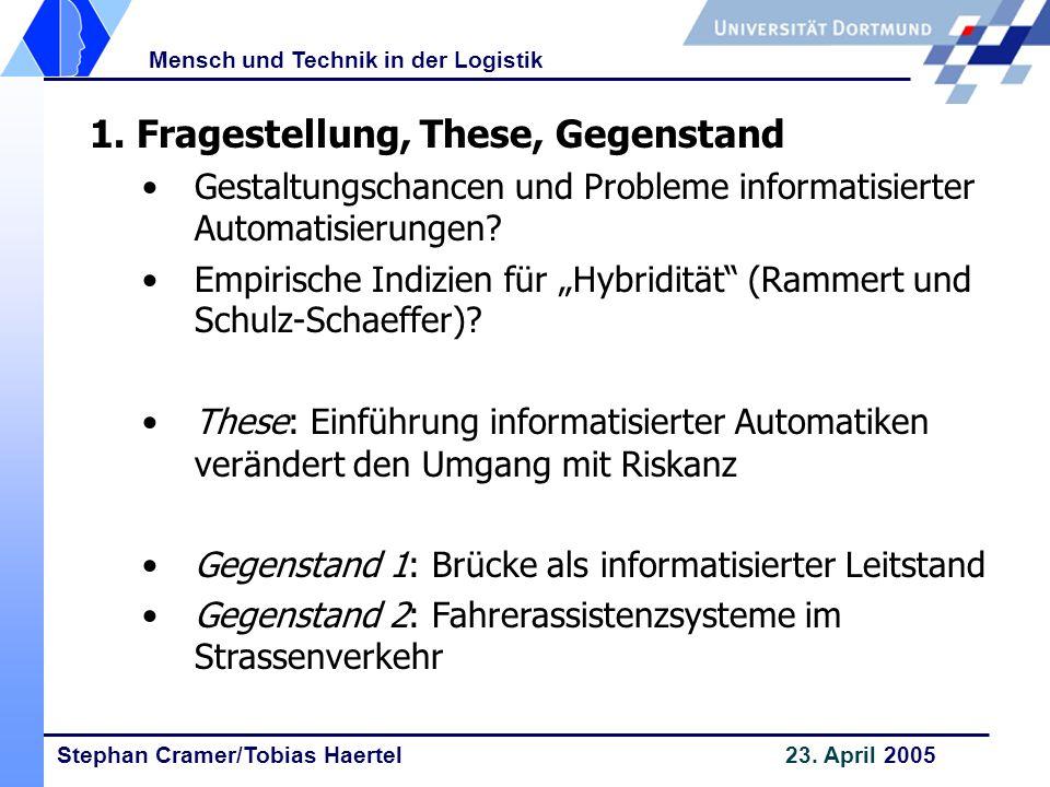 Stephan Cramer/Tobias Haertel 23. April 2005 Mensch und Technik in der Logistik 1. Fragestellung, These, Gegenstand Gestaltungschancen und Probleme in