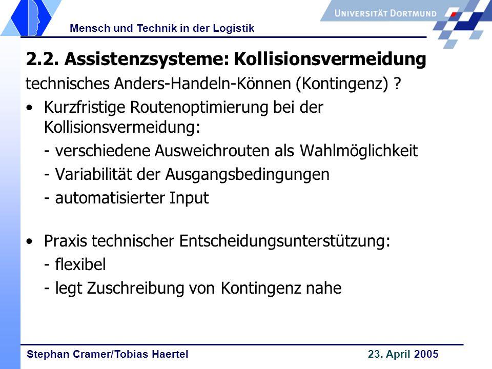 Stephan Cramer/Tobias Haertel 23. April 2005 Mensch und Technik in der Logistik 2.2. Assistenzsysteme: Kollisionsvermeidung technisches Anders-Handeln