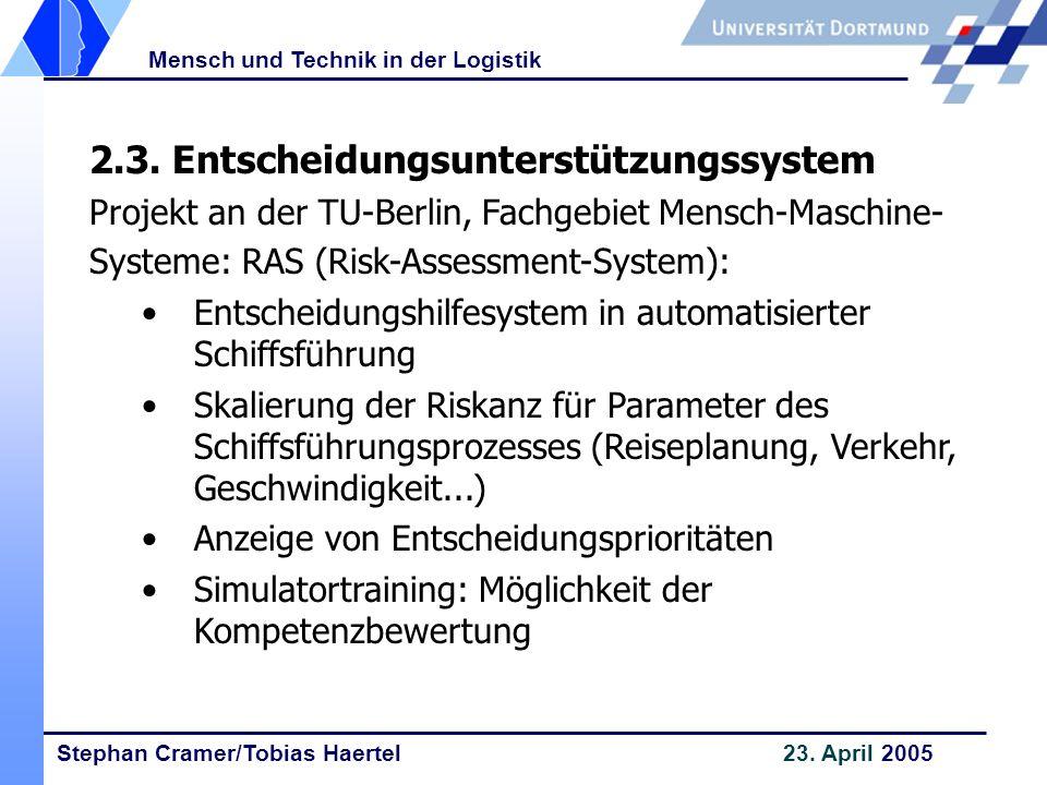 Stephan Cramer/Tobias Haertel 23. April 2005 Mensch und Technik in der Logistik 2.3. Entscheidungsunterstützungssystem Projekt an der TU-Berlin, Fachg