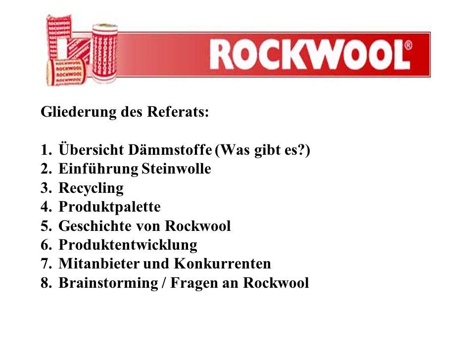 Gliederung des Referats: 1.Übersicht Dämmstoffe (Was gibt es?) 2.Einführung Steinwolle 3.Recycling 4.Produktpalette 5.Geschichte von Rockwool 6.Produk