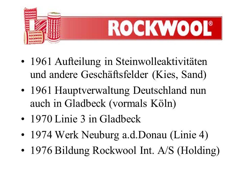 1961 Aufteilung in Steinwolleaktivitäten und andere Geschäftsfelder (Kies, Sand) 1961 Hauptverwaltung Deutschland nun auch in Gladbeck (vormals Köln)