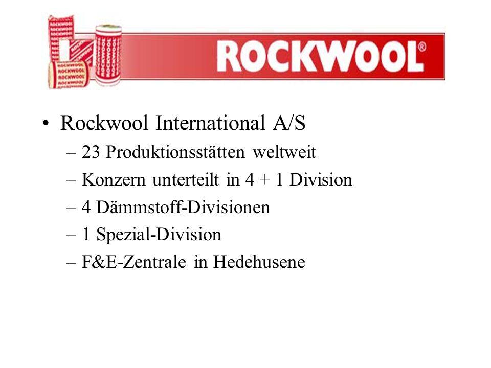 Rockwool International A/S –23 Produktionsstätten weltweit –Konzern unterteilt in 4 + 1 Division –4 Dämmstoff-Divisionen –1 Spezial-Division –F&E-Zent