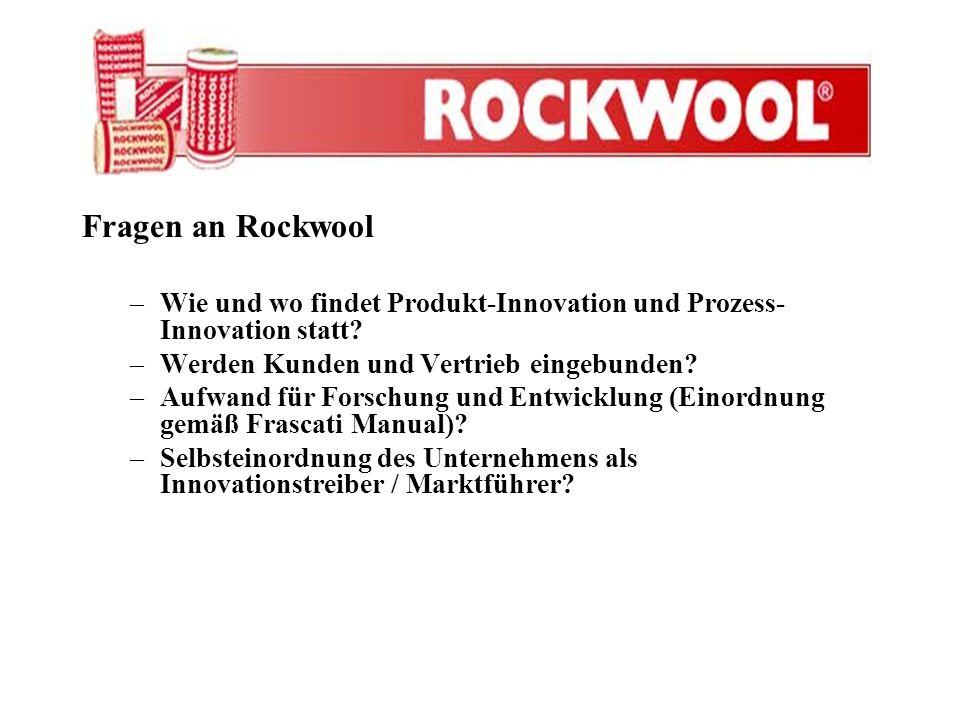 Fragen an Rockwool –Wie und wo findet Produkt-Innovation und Prozess- Innovation statt? –Werden Kunden und Vertrieb eingebunden? –Aufwand für Forschun