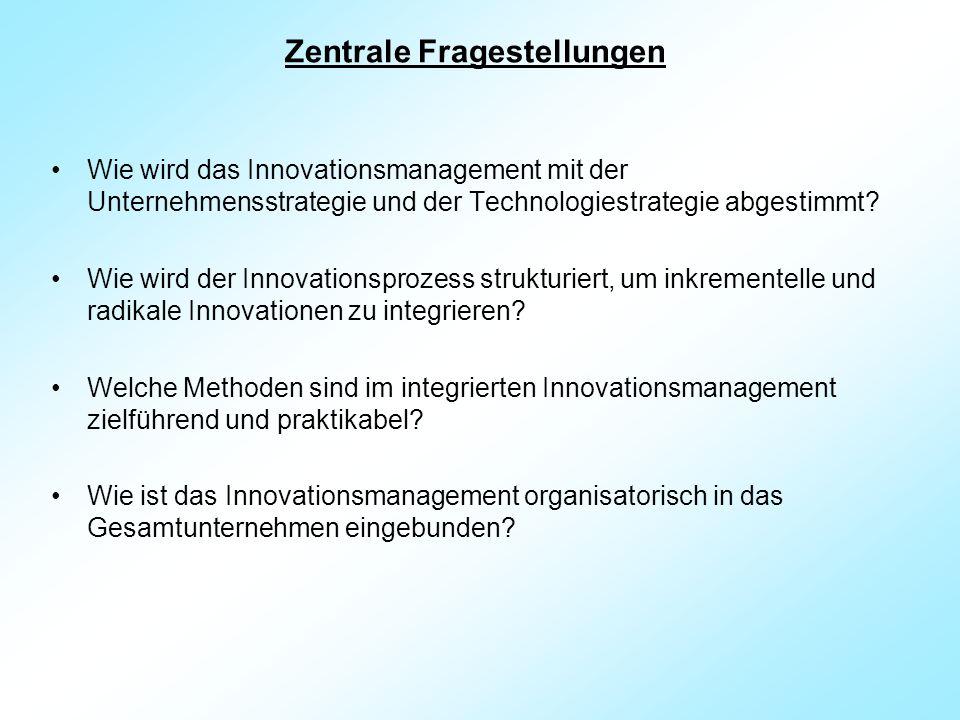 Zentrale Fragestellungen Wie wird das Innovationsmanagement mit der Unternehmensstrategie und der Technologiestrategie abgestimmt.