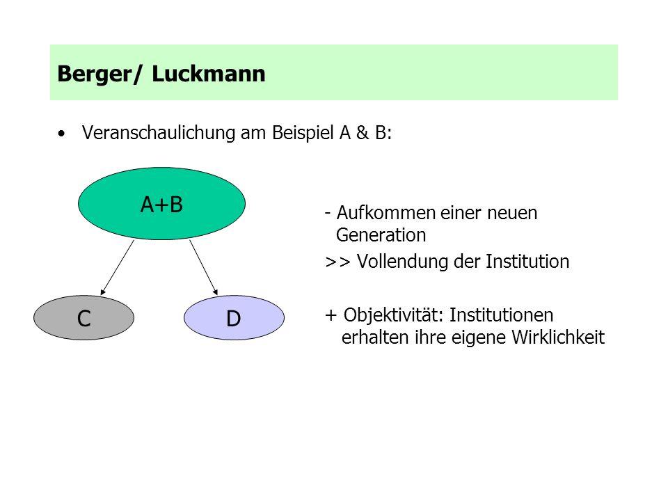 Veranschaulichung am Beispiel A & B: - Aufkommen einer neuen Generation >> Vollendung der Institution + Objektivität: Institutionen erhalten ihre eige