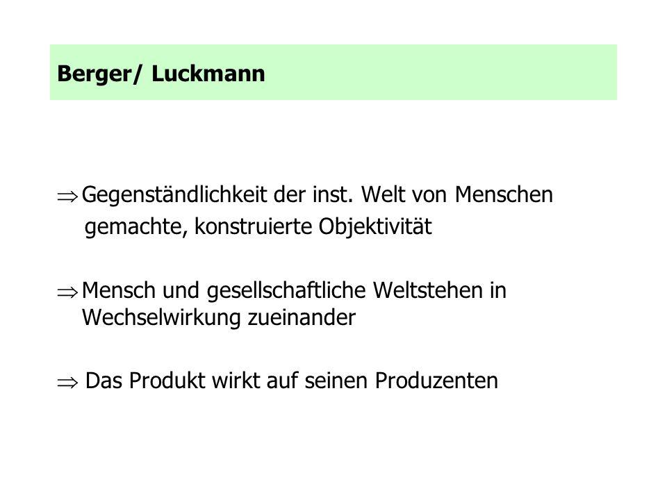 Berger/ Luckmann Gegenständlichkeit der inst. Welt von Menschen gemachte, konstruierte Objektivität Mensch und gesellschaftliche Weltstehen in Wechsel