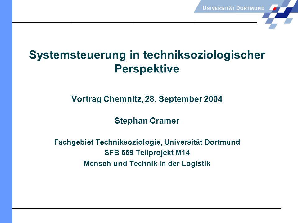 Stephan Cramer 28.September 2004 Mensch und Technik in der Logistik 1.