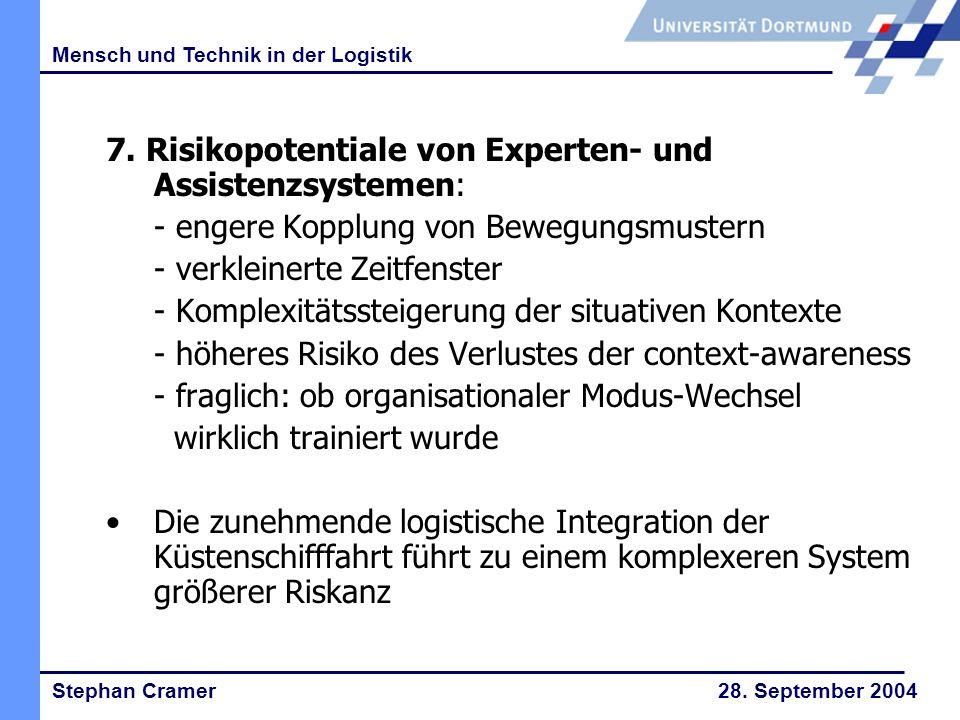 Stephan Cramer 28.September 2004 Mensch und Technik in der Logistik 8.