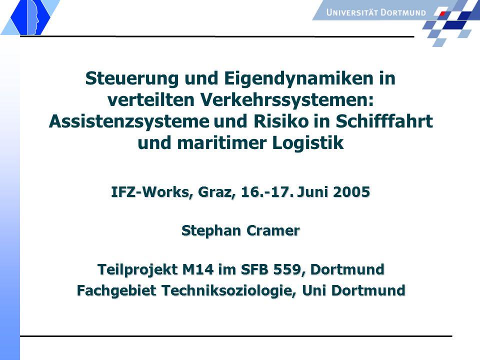 Steuerung und Eigendynamiken in verteilten Verkehrssystemen: Assistenzsysteme und Risiko in Schifffahrt und maritimer Logistik IFZ-Works, Graz, 16.-17