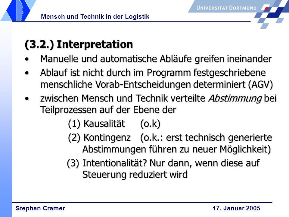 Stephan Cramer 17. Januar 2005 Mensch und Technik in der Logistik (3.2.) Interpretation Manuelle und automatische Abläufe greifen ineinanderManuelle u