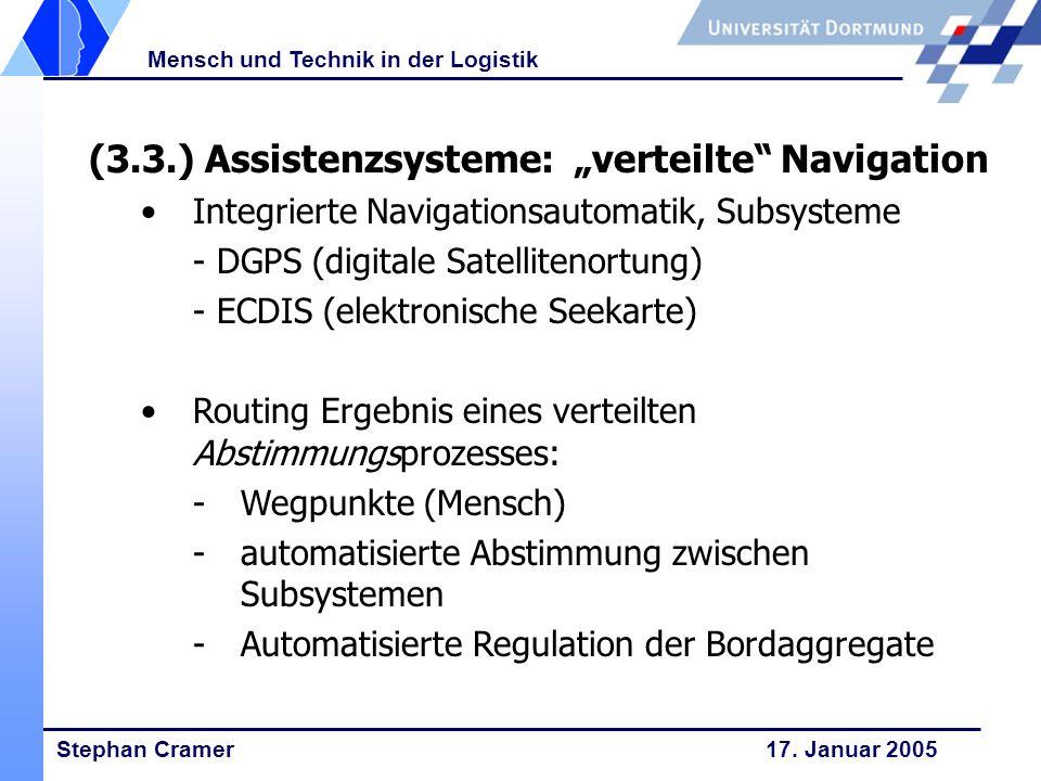 Stephan Cramer 17. Januar 2005 Mensch und Technik in der Logistik (3.3.) Assistenzsysteme: verteilte Navigation Integrierte Navigationsautomatik, Subs