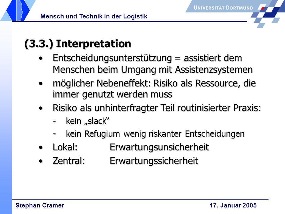 Stephan Cramer 17. Januar 2005 Mensch und Technik in der Logistik (3.3.) Interpretation Entscheidungsunterstützung = assistiert dem Menschen beim Umga