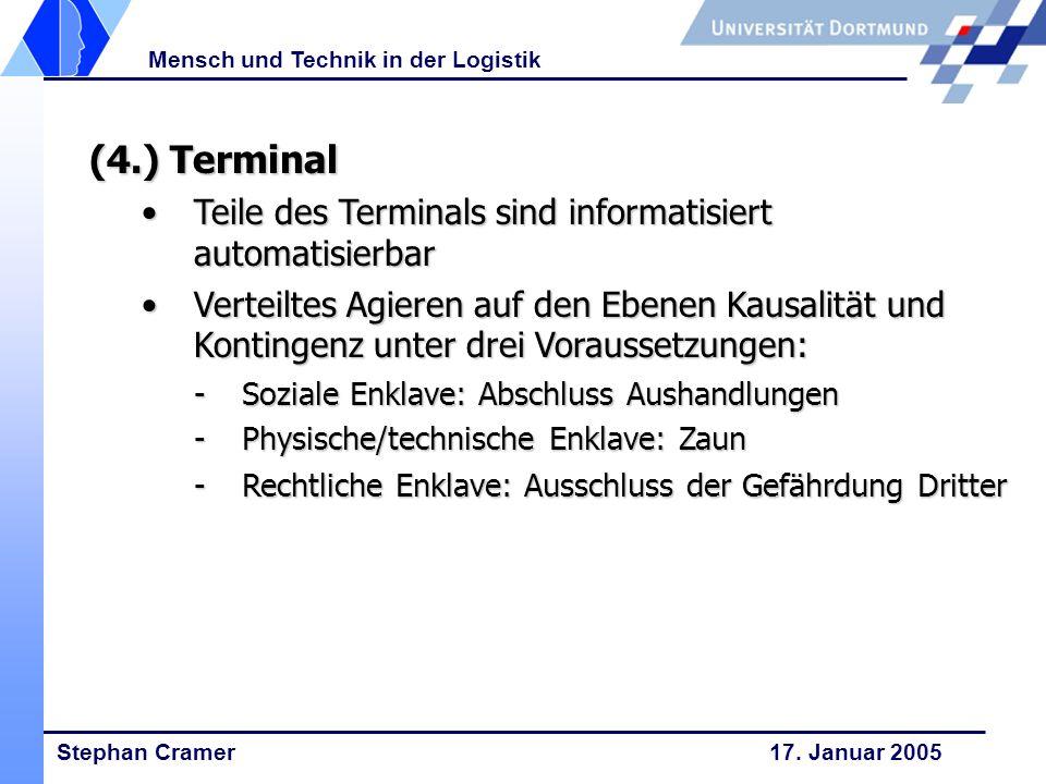 Stephan Cramer 17. Januar 2005 Mensch und Technik in der Logistik (4.) Terminal Teile des Terminals sind informatisiert automatisierbarTeile des Termi