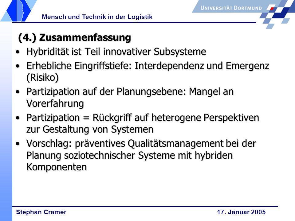 Stephan Cramer 17. Januar 2005 Mensch und Technik in der Logistik (4.) Zusammenfassung (4.) Zusammenfassung Hybridität ist Teil innovativer Subsysteme