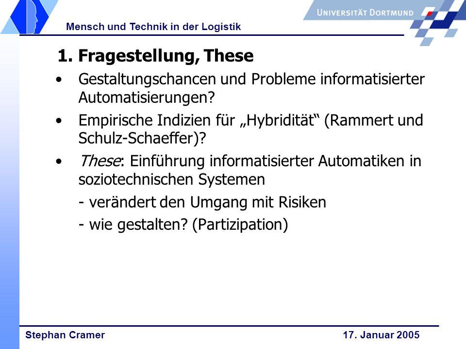 Stephan Cramer 17. Januar 2005 Mensch und Technik in der Logistik 1. Fragestellung, These Gestaltungschancen und Probleme informatisierter Automatisie